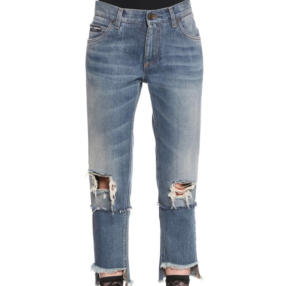 Dolce & Gabbana embroidered/ripped jeans